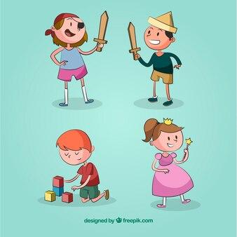 Cuatro niños jugando y divirtiéndose
