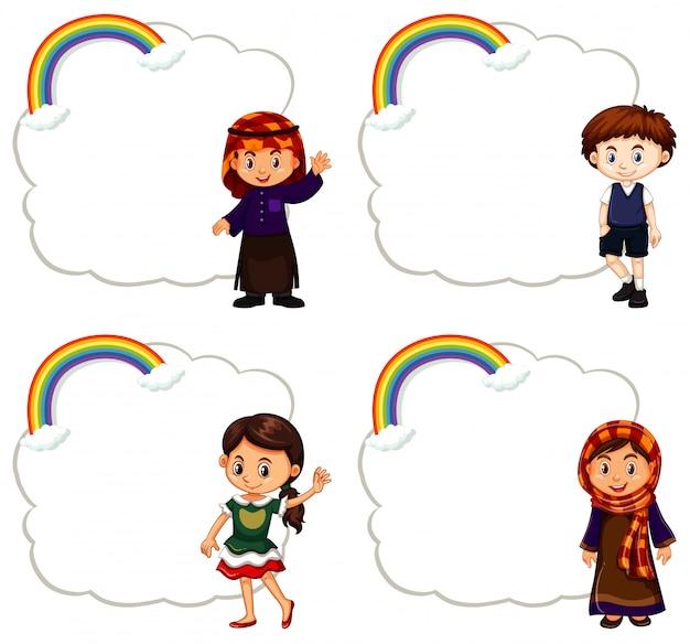 Cuatro niños y marco de nubes