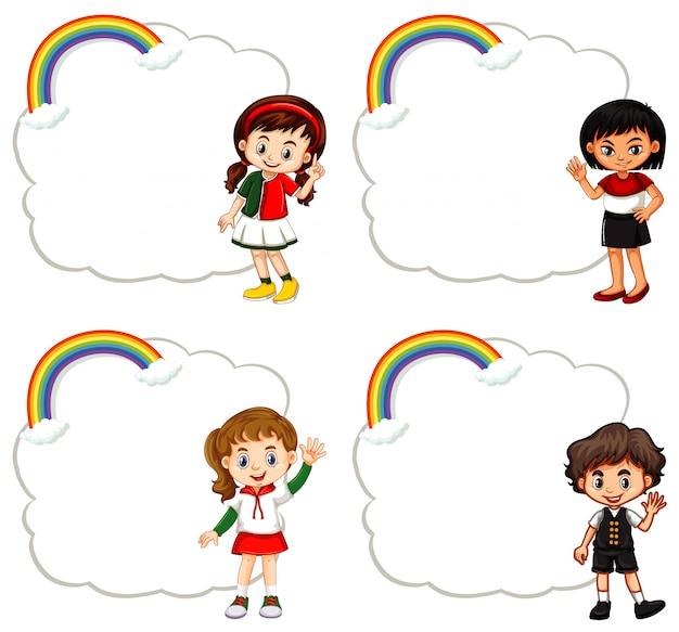 Cuatro niños y marcos de nubes