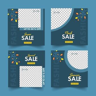 Cuatro opciones de diseño de cartel o plantilla de venta con oferta de 50% de descuento y espacio de copia sobre fondo azul turquesa y png.