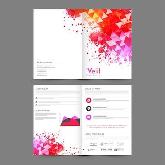 Cuatro páginas folleto comercial con diseño geométrico abstracto, salpicadura de color y gráfico estadístico.