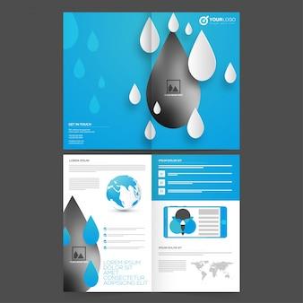 Cuatro páginas, folleto de negocios con gotas de blanco y azul cielo, diseño corporativo creativo de plantilla con elementos infográficos y espacio para imágenes.