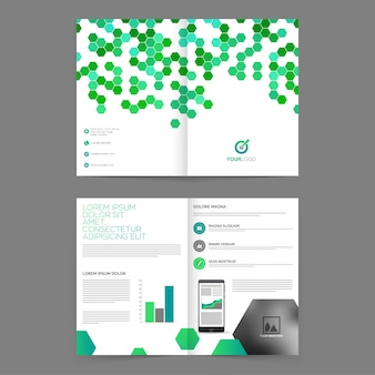 Cuatro páginas, folleto profesional, plantilla con diseño abstracto verde y espacio para sus imágenes para la presentación del negocio.