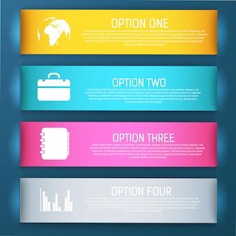 Cuatro pancartas brillantes y coloreadas con cuatro pasos de ilustración de opciones