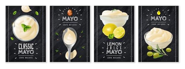 Cuatro pancartas verticales con presentación de mayonesa realista en cuencos de vidrio y cuchara.