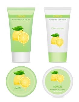 Cuatro paquetes de crema cosmética con limón.