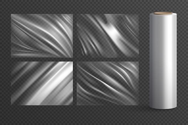 Cuatro paquetes de polietileno de textura de envoltura en blanco aislados y rollo de plástico transparente realista