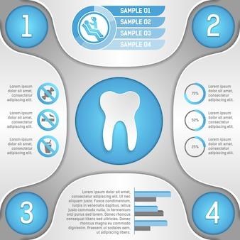 Cuatro pasos para la ilustración de vector de plantilla de infografía de dientes sanos