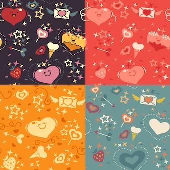 Cuatro patrones de corazones de san valentín