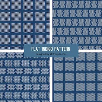 Cuatro patrones indigo, estilo flat