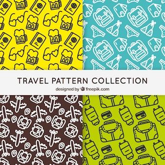 Cuatro patrones de viaje con bocetos