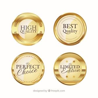 Cuatro pegatinas doradas de alta calidad
