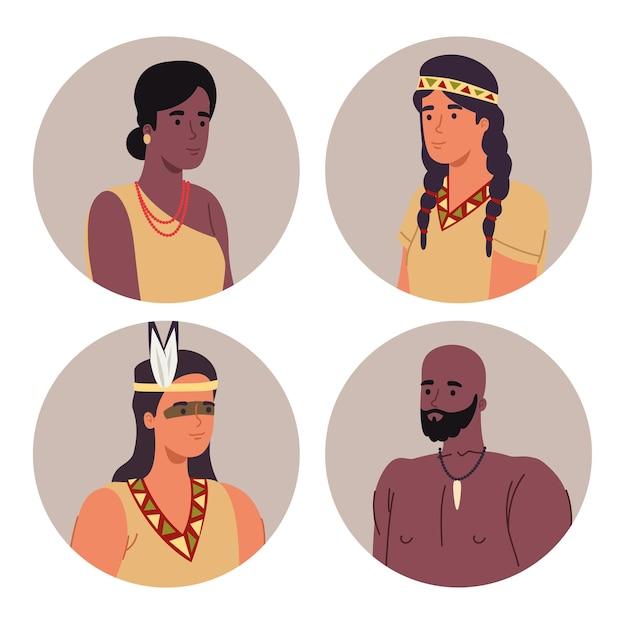 Cuatro personajes aborígenes.
