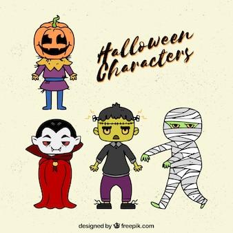 Cuatro personajes básicos de halloween