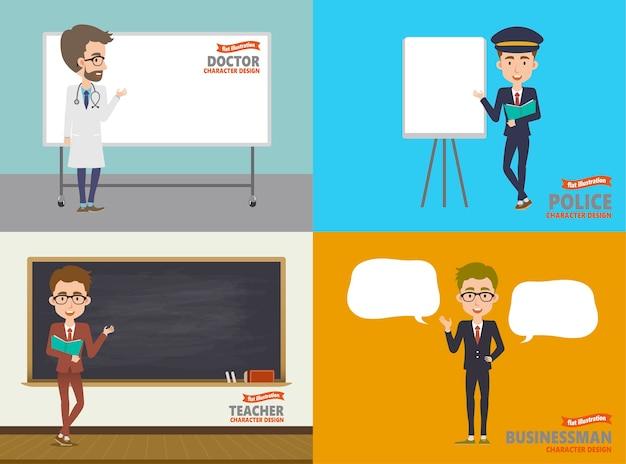 Cuatro personajes de ocupación diferente, médico, policía, maestro y empresario con espacio de copia