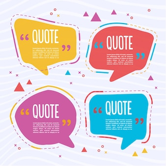 Cuatro plantillas coloridas de texto