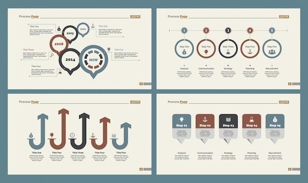 Cuatro plantillas de diapositivas de flujo de trabajo