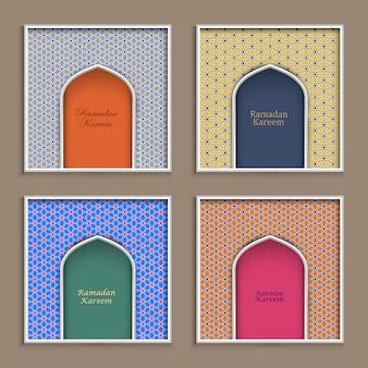 Cuatro plantillas de tarjetas de felicitación de ramadan kareem