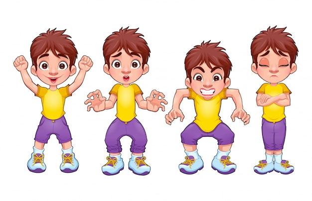 Cuatro poses del mismo niño en diferentes expresiones del vector de personajes aislados de dibujos animados