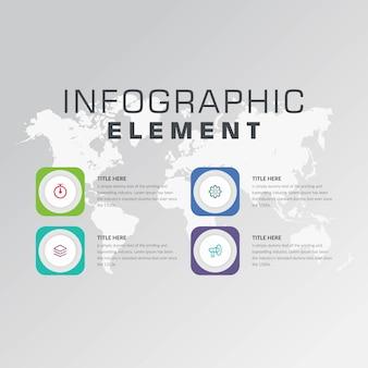 Cuatro puntos resumen infografía elemento estrategia empresarial