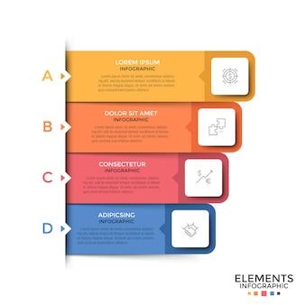 Cuatro rectángulos o rayas de colores con letras con símbolos de líneas finas y lugar para el texto en el interior colocados uno debajo del otro. concepto de menú emergente del sitio web. plantilla de diseño infográfico. ilustración vectorial.