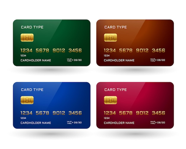 Cuatro tarjetas de crédito en diferentes colores.
