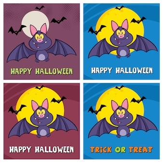 Cuatro tarjetas de felicitación de halloween
