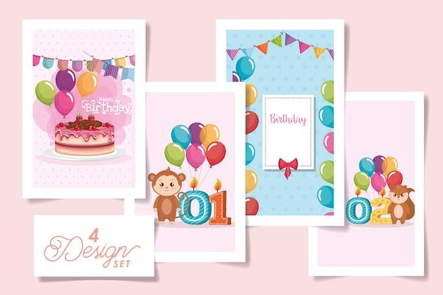 Cuatro tarjetas de feliz cumpleaños y animales lindos