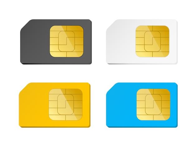 Cuatro tarjetas sim negras, blancas, azules, amarillas