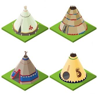Cuatro tienda de campaña en forma de cono, vista isométrica