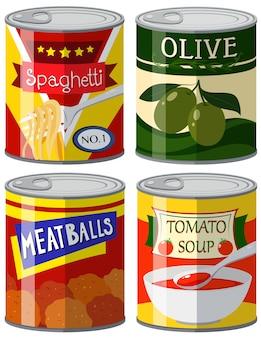 Cuatro tipos de alimentos enlatados en conjunto ilustración