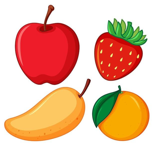 Cuatro tipos diferentes de frutas sobre fondo blanco.