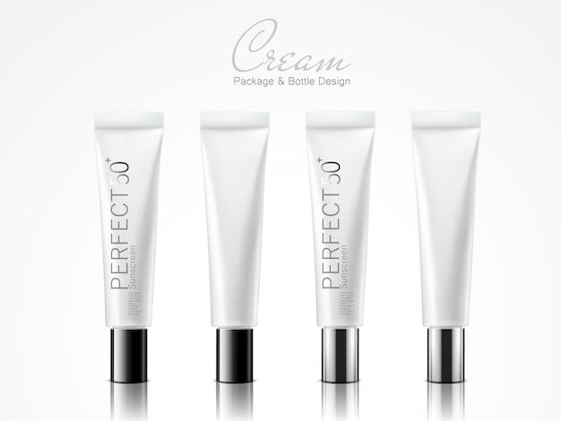 Cuatro tubos de plástico blanco de pie para uso de diseño de paquete de crema