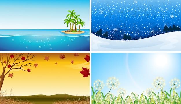 Cuatro vista de diferentes estaciones ilustración