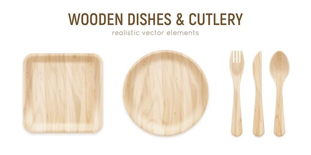 Cubertería de madera ecológica realista sin desperdicio