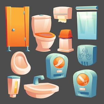 Cubículo de material de baño público, tazón de cerámica y urinario, recipiente con jabón líquido, papelera y toallitas de papel, autómata con toallas higiénicas y tampones para mujer, secador de manos, espejo conjunto de vectores de dibujos animados