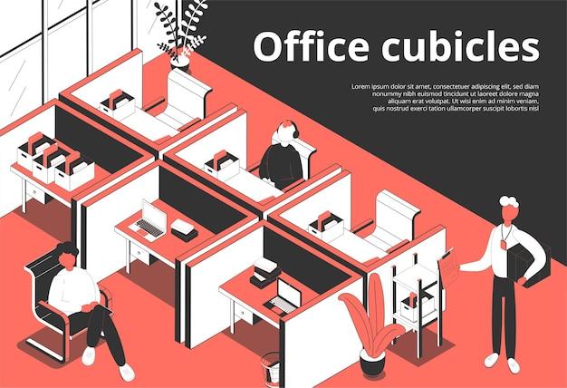 Cubículos de oficina isométricos con e ilustración.