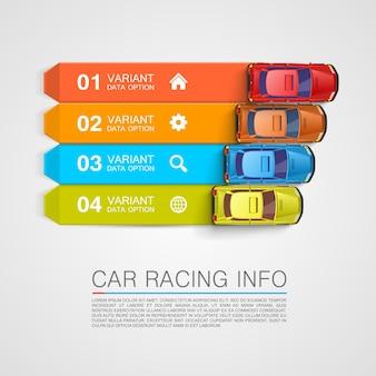 Cubierta de arte de información de carreras de coches. ilustración vectorial