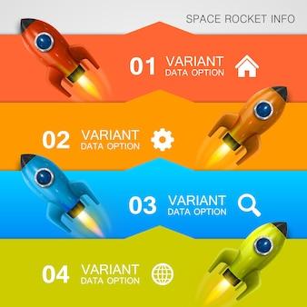 Cubierta de arte de información de carreras de cohetes. ilustración vectorial