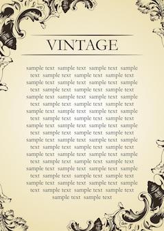 Cubierta barroca de vector marco vintage