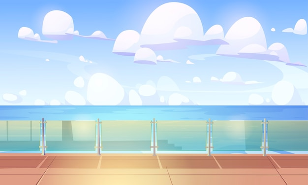 Cubierta de crucero o muelle con balaustre de vidrio, barco vacío con piso de madera y cercas de plexiglás.