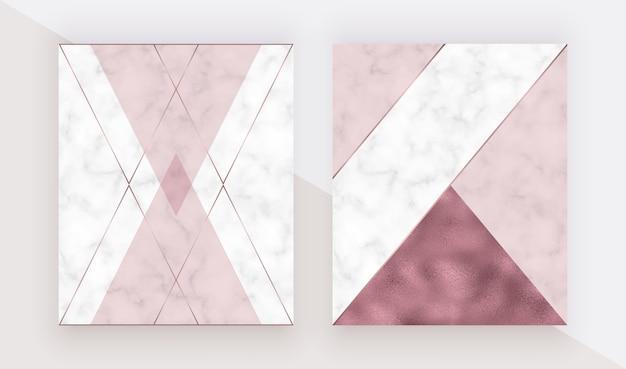 Cubierta de diseño geométrico de mármol con textura triangular rosa, lámina de oro rosa, líneas poligonales.