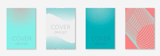 Cubierta de formas abstractas. página de material, presentación, cartel, concepto de patente. rosa y turquesa. cubierta de formas abstractas y plantilla con elementos geométricos de línea.