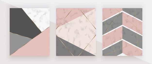 Cubierta geométrica con formas triangulares de color rosa, gris, líneas doradas en la textura de mármol blanco.