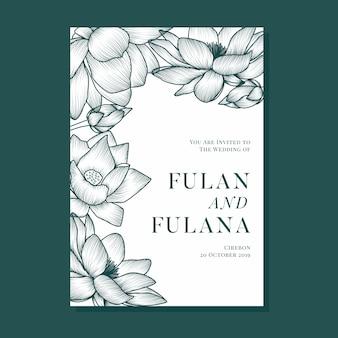 Cubierta invitación de boda con sombra de contorno doodle abstracto flor de loto y decoración floral ornamento