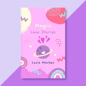 Cubierta de libro de amor infantil dibujada a mano