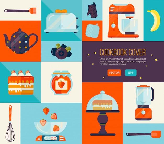 Cubierta de libro de cocina en colores brillantes.