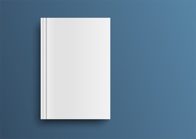Cubierta de libro vacío sobre mesa azul