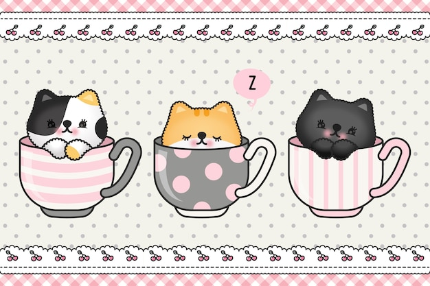 Cubierta linda del papel pintado del doodle de la historieta del saludo de la familia del gatito del gato