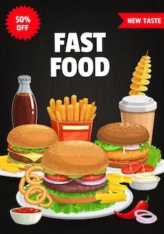 Cubierta de menú de comida rápida, hamburguesas y bocadillos combinados hamburguesa, hamburguesa con queso y papas fritas.